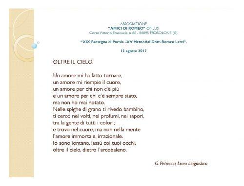 "ASSOCIAZIONE ""AMICI DI ROMEO"" ONLUS – ""XIX Rassegna di Poesia –XV Memorial Dott.Romeo Lesti"""