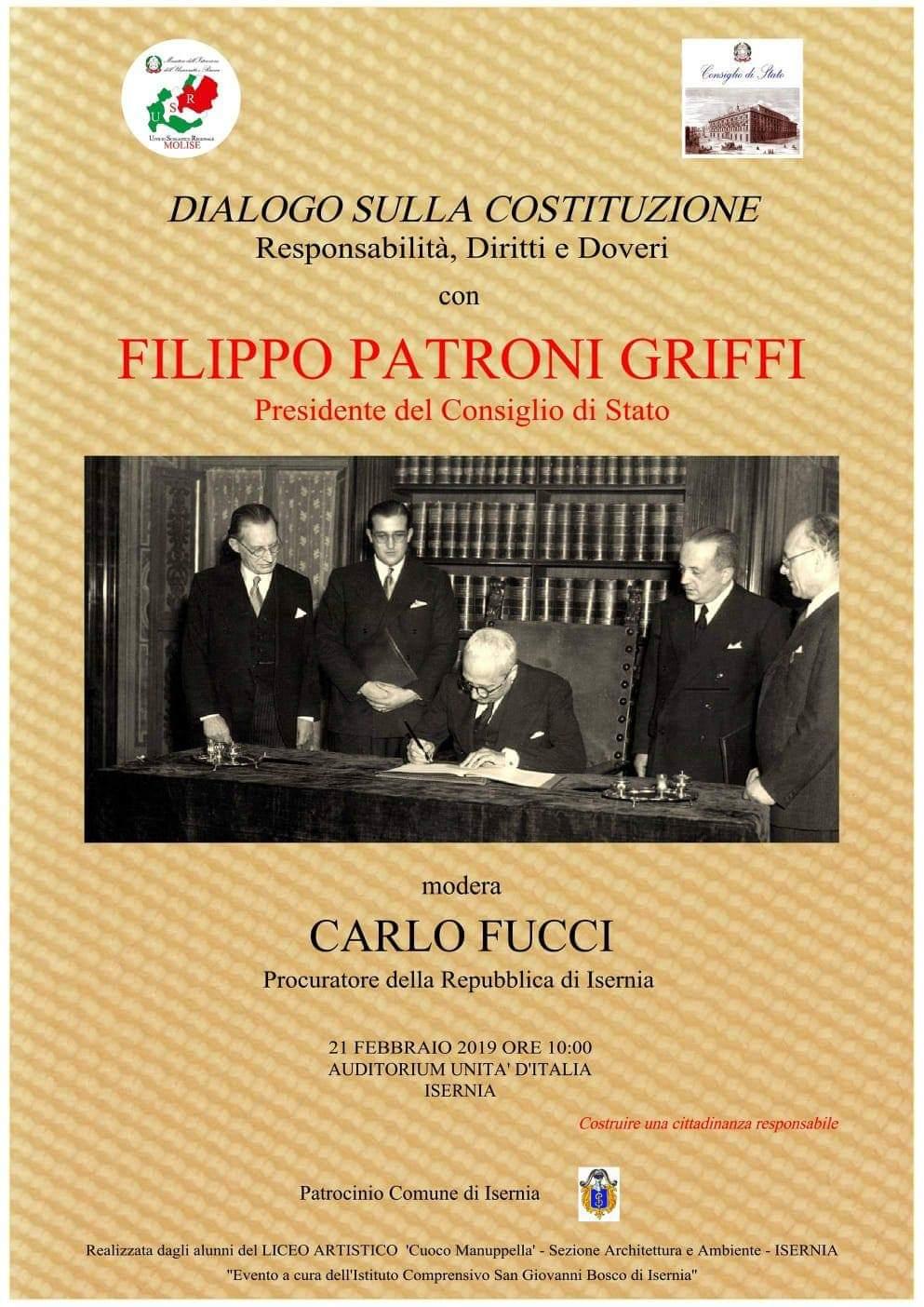 DIALOGO SULLA COSTITUZIONE CON PATRONI GRIFFI 22/02/2019