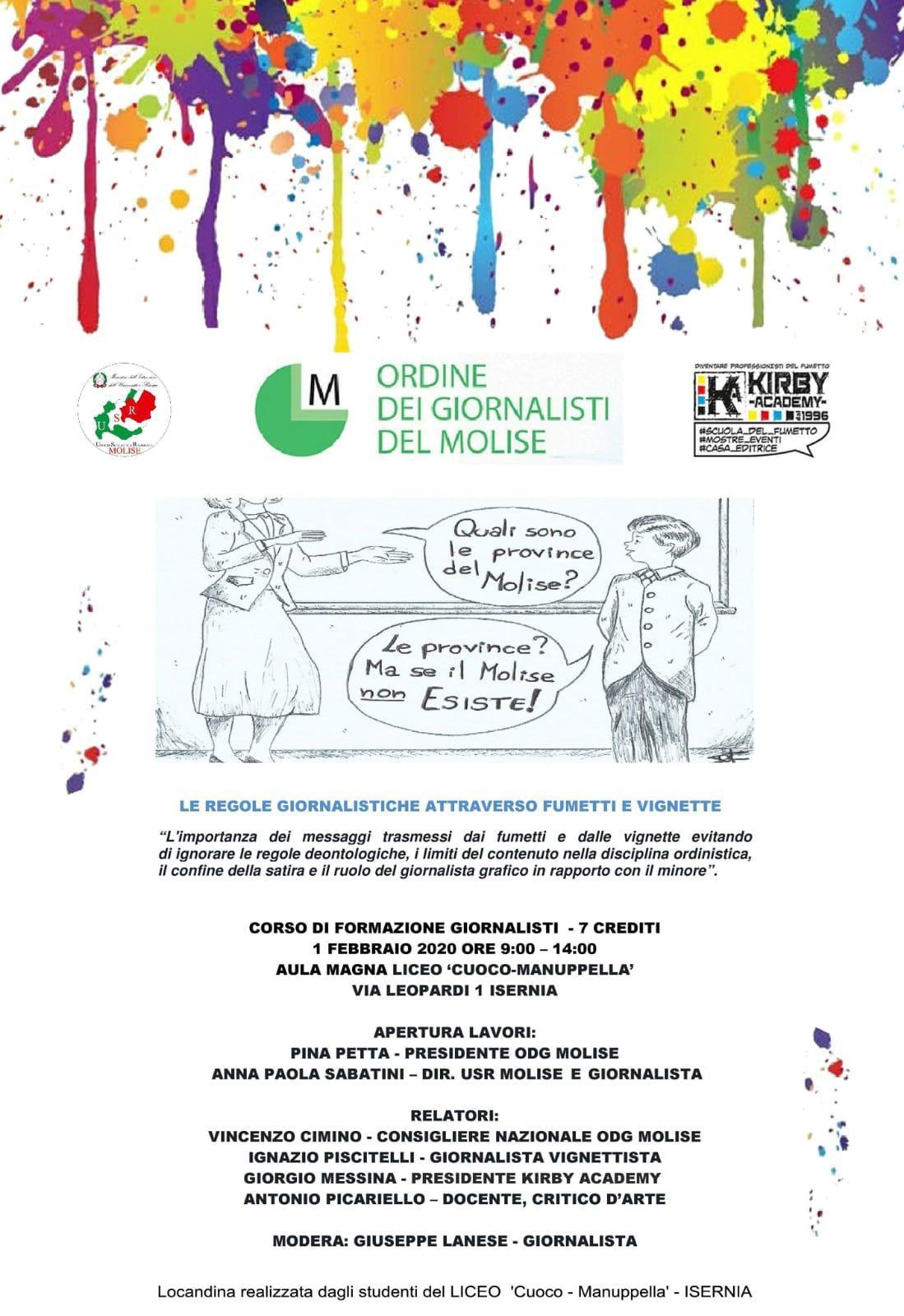 """PARTECIPAZIONE AL CORSO """"LE REGOLE GIORNALISTICHE ATTRAVERSO FUMETTI E VIGNETTE"""" 1 FEBBRAIO 2020"""